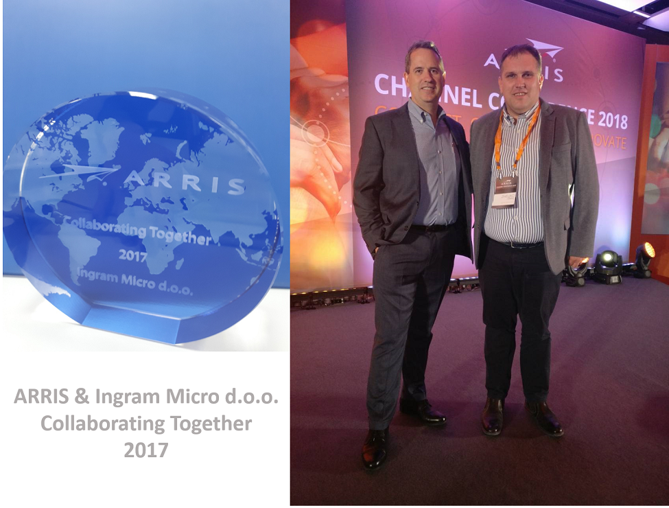 "Ingram Micro was honored to receive the ""Collaborating Together"" ARRIS Award"